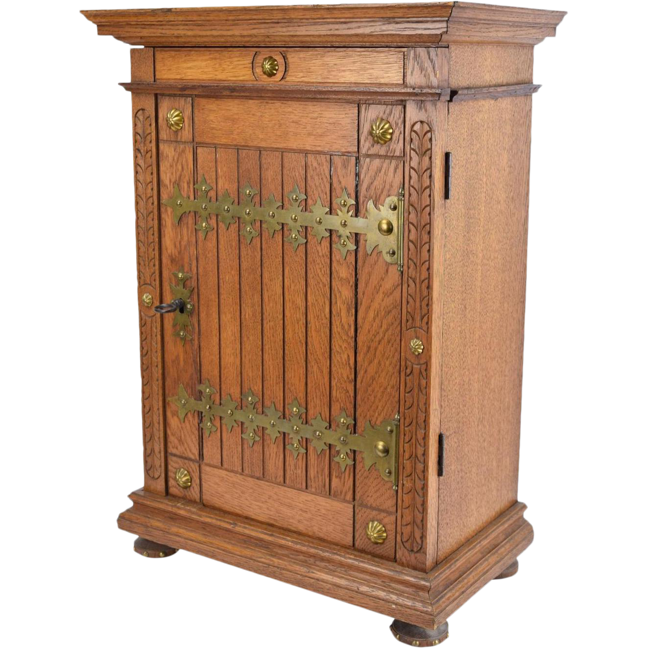 Marvelous Gothic Revival Oak Locking Wall Cabinet