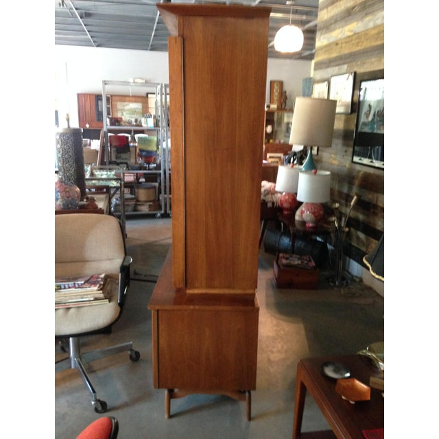 Mid-Century Etched Doors Teak Hutch Cabinet - Image 7 of 10