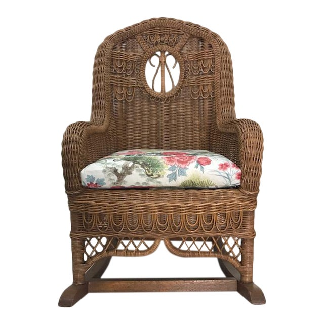 Vintage Henry Link Rattan Wicker Rocking Chair For Sale
