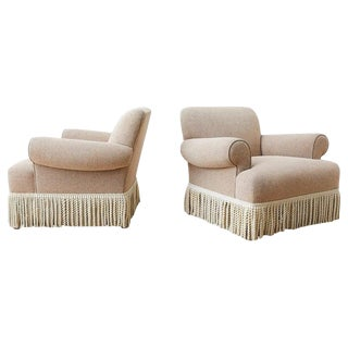 Air of Rolled Arm Club or Armchairs With Bullion Fringe For Sale