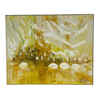 1960s Abstract Oil Painting by Lee Reynolds, Framed For Sale