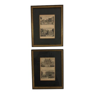 Late 19th Century Vintage Architectural Prints- A Pair For Sale