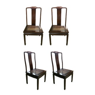 1960s Vintage Henredon Chinoiserie Walnut and Wicker Dining Chairs— Set of 4 For Sale