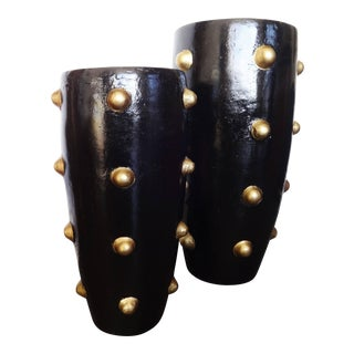 Unique Pair of Black and Gold Sculpture Planters For Sale
