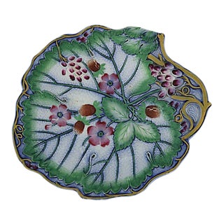 Antique English Majolica Floral Dish For Sale