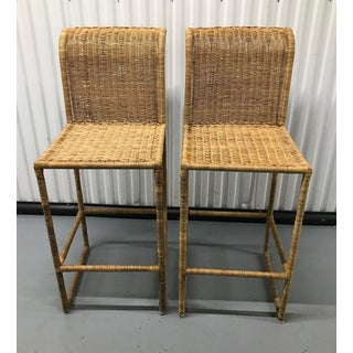 Mid-Century Modern Rattan Bar Stools — a Pair Preview