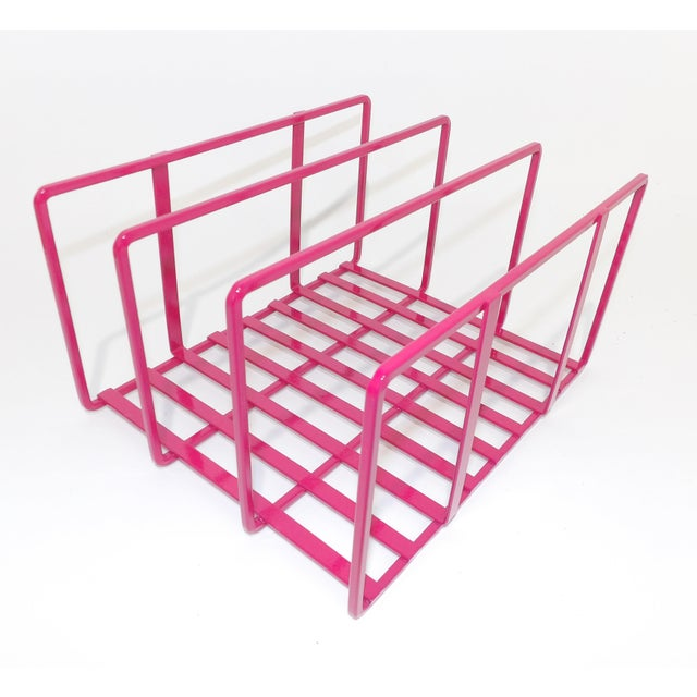 Metal 1980s Pink Metal Vinyl Record Holder Book Stand For Sale - Image 7 of 7