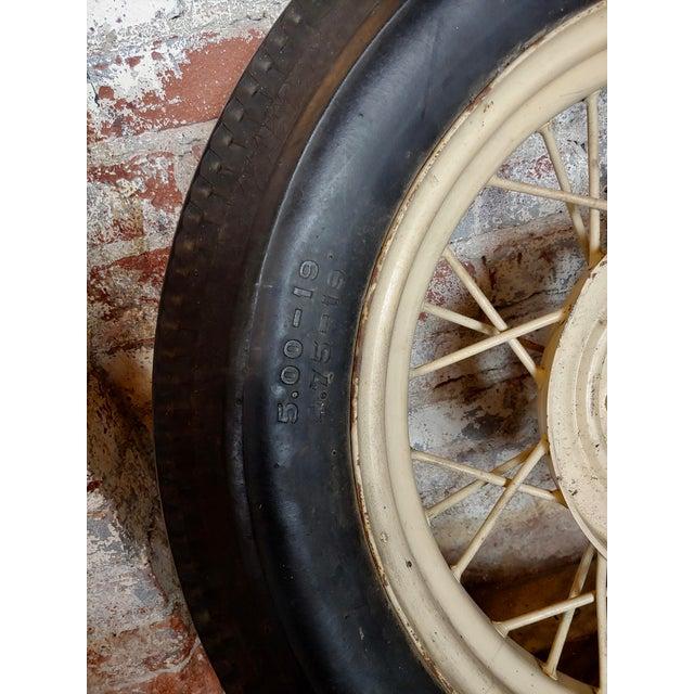 Rubber Ford Model a Original 1920/30s Wire Spoke Wheel W/Insa Tire For Sale - Image 7 of 10