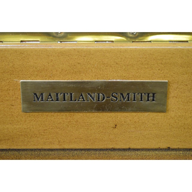 Animal Skin Maitland Smith Woven Leather Lidded Chest on Rattan Base For Sale - Image 7 of 11