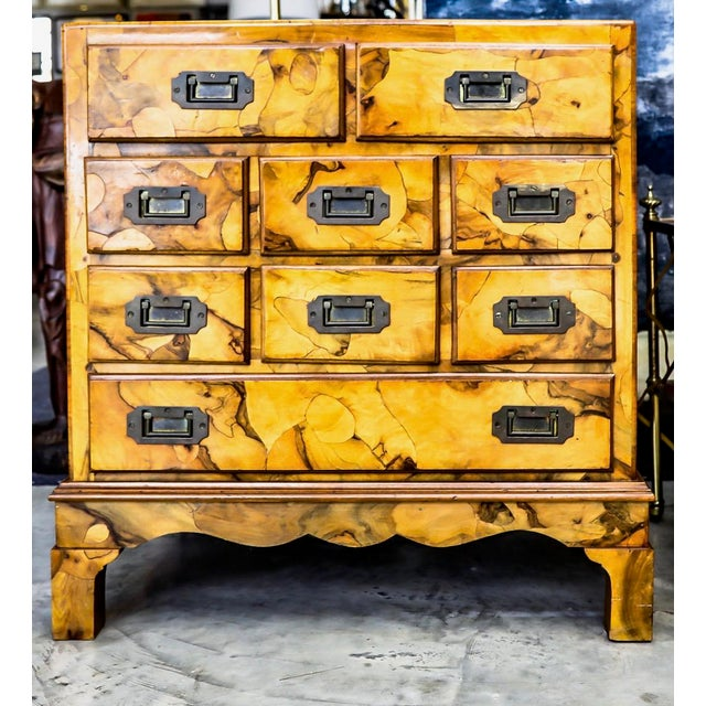 Mid-Century Modern Olive Wood Chest of Drawers For Sale - Image 9 of 9