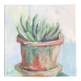 """Potted Succulent"" Acrylic Painting For Sale"