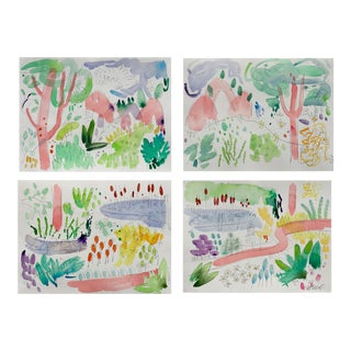 English Garden Set of 4 Original Watercolor Paintings.