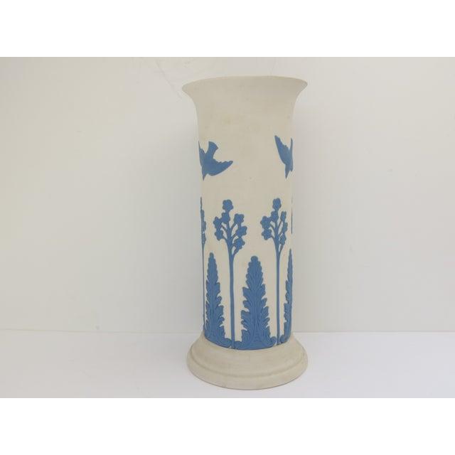 Ceramic Ecanada White & Blue Art Pottery Vase For Sale - Image 7 of 7