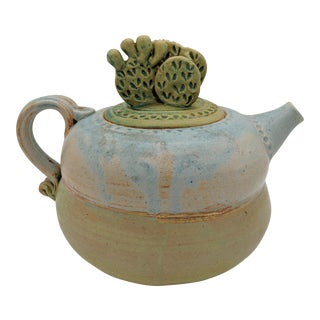 Contemporary Handmade Blue and Green Cactus Teapot For Sale