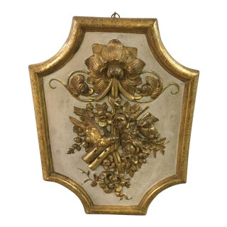 1960s Italian Florentine Antique Gold Carved Plaque