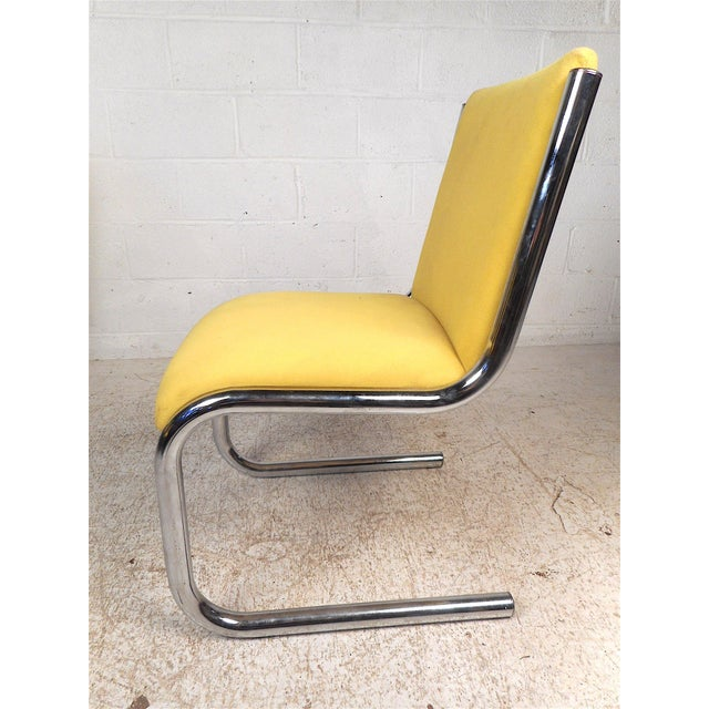 Mid 20th Century Midcentury Chrome Cantilevered Chairs, Set of 4 For Sale - Image 5 of 13