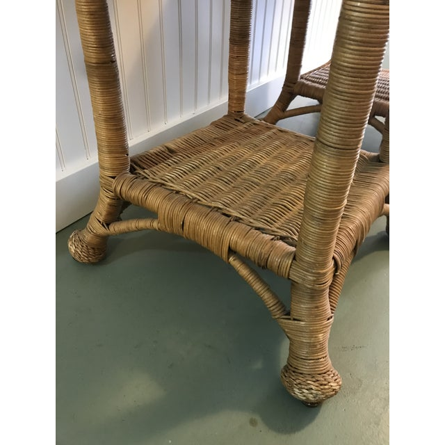 Tan Vintage Wicker Side Tables with Glass Tops - A Pair For Sale - Image 8 of 11