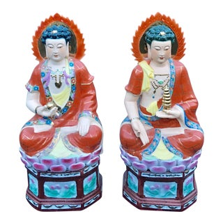 "19"" Buddha Porcelain Hand Painted Chinese Statues - A Pair"