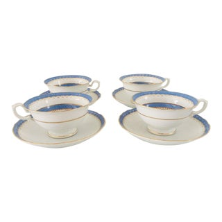Antique Blue and White Teacups & Saucers - Set of 4