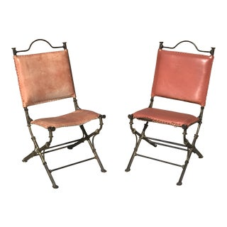 Ilana Goor Gilt Iron & Leather Chairs - A Pair For Sale