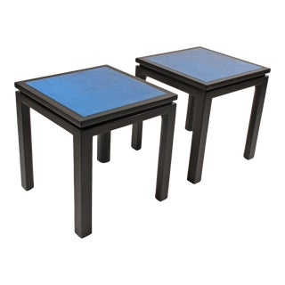 Harvey Probber Blue Enameled Copper and Espresso Mahogany Side Tables - A Pair For Sale
