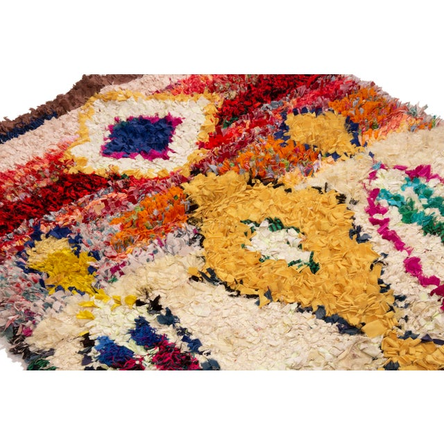 Vintage Midcentury Moroccan Transitional Yellow and Red Fabric Rug - 3′4″ × 4′1″ For Sale - Image 4 of 6