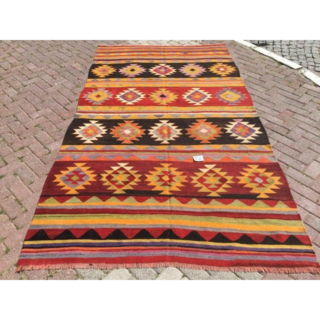 Vintage Aztec Kilim Rug For Sale - Image 9 of 9