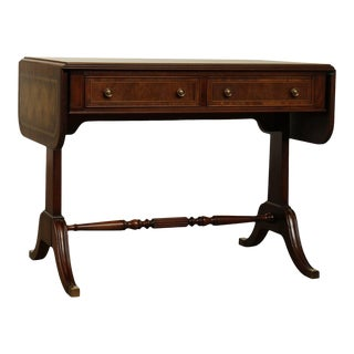 Heritage Signers Vintage Regency Style Mahogany Leather Top Drop Leaf Console Table For Sale