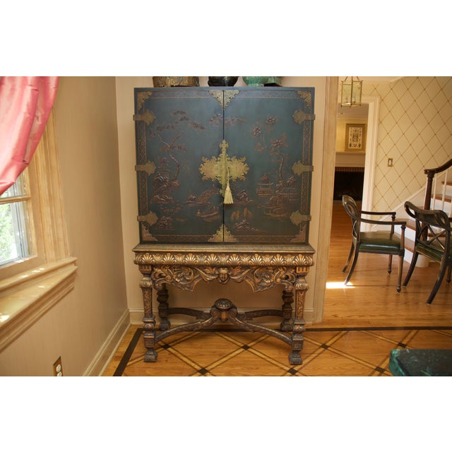 Hunter Green Vintage Chinoiserie Cabinet With Rais - Image 2 of 10