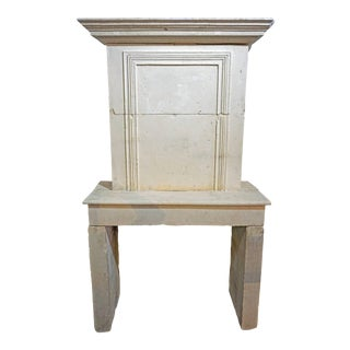 17th Century Louis XVI Limestone Mantel with Trumeau For Sale
