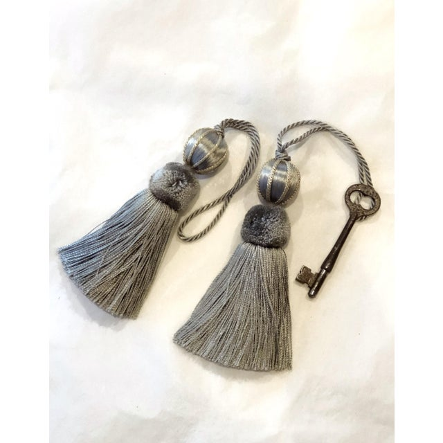 "Transitional Verdigris Beaded Key Tassels - a Pair, 4.5"" For Sale - Image 3 of 10"