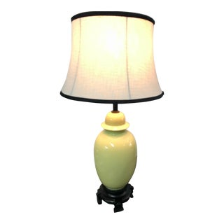 Green Chinoiserie Ginger Jar Lamp For Sale