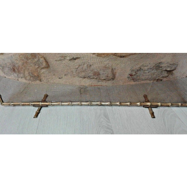 1940s French Art Deco Maison Bagues Bronze Fireplace Screen - Bamboo For Sale - Image 9 of 11