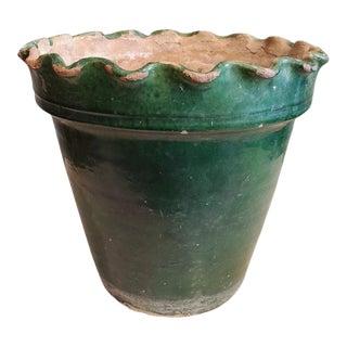 Late 19th Century Large Green Glazed Terra Cotta Flower Pot For Sale