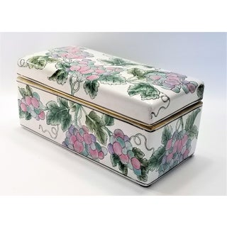 Large Chinese Famille Rose Porcelain Box - Asian Mid Century Modern Palm Beach Boho Chic Tropical Tree Leaves Preview