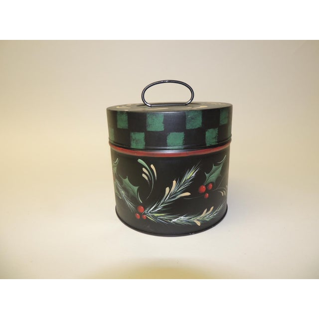 Vintage Round Tole Hand Painted Canister With Holiday Theme Hand Painted Details For Sale In Miami - Image 6 of 6