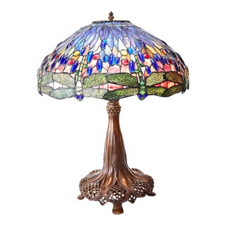Tiffany Studios Style Dragonfly Table Lamp For Sale