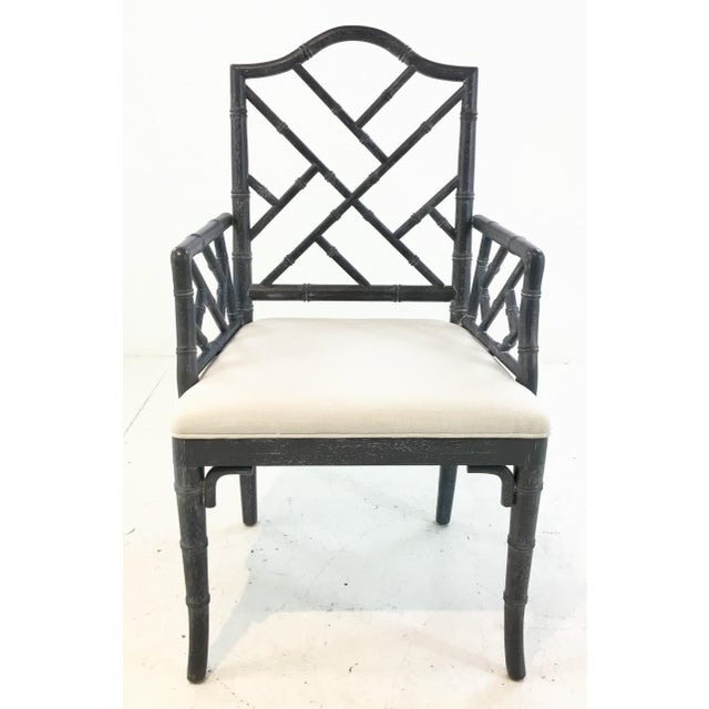 Stylish Worlds Away Modern Chippendale Style Gray Arm Chair, cerused finished wood frame, white linen blend fabric...