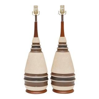 Mid Century Ceramic & Teak Table Lamps - a Pair For Sale