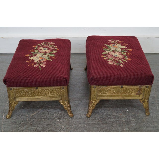 Aesthetic Movement Victorian Aesthetic Brass Footstools, Attributed to Charles Parker- A Pair For Sale - Image 3 of 10
