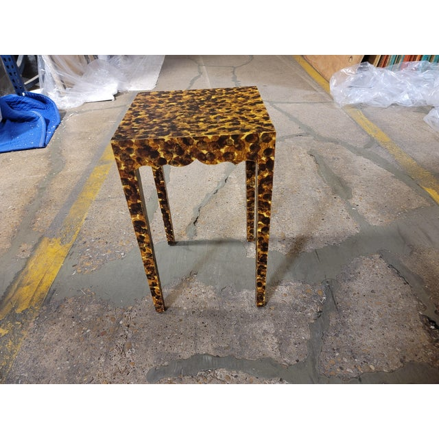 2020s Contemporary Faux Tortoiseshell Side Table For Sale - Image 5 of 5