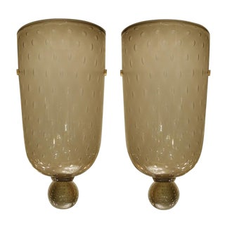 "Seguso ""Bulicante"" Glass Sconces - A Pair For Sale"