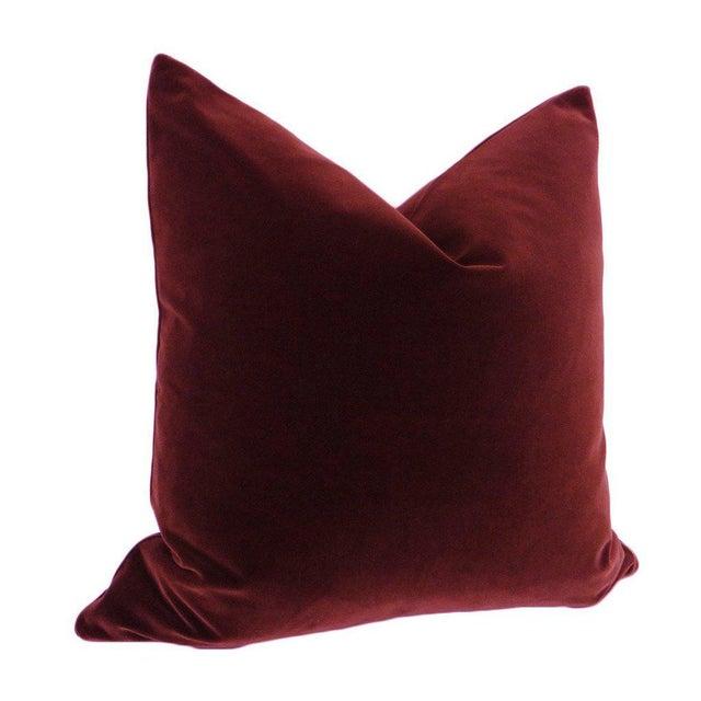 Hollywood Regency Antelope Bolster and Oxblood Velvet Pillows - Set of 4 For Sale - Image 3 of 7