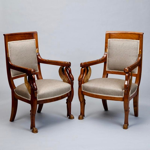 19th Century French Empire Mahogany & Parcel Gilt Chairs - A Pair - Image 2 of 9