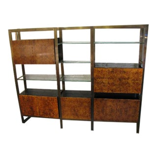 Burlwood, Brass and Glass Wall Unit by John Stuart For Sale