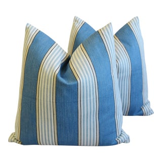 """French Blue Nautical Striped Feather/Down Pillows 24"""" Square - Pair For Sale"""