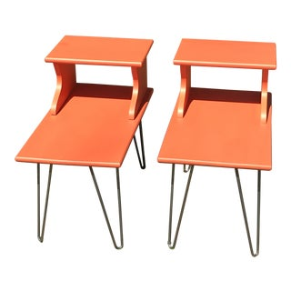 Mid-Century Modern Persimmon Maple Side Tables - a Pair