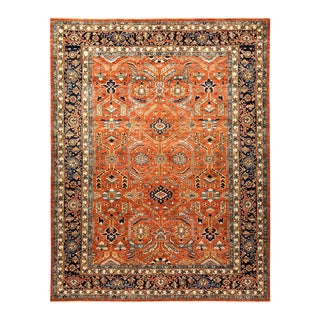 One-Of-A-Kind Oriental Serapi Hand-Knotted Area Rug, Crimson, 9' 4 X 11' 7 For Sale