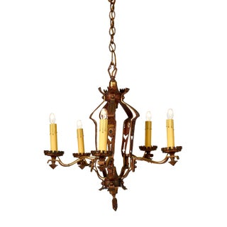 1920's Halcolite Five Arm Spanish Style Hand Painted Chandelier For Sale