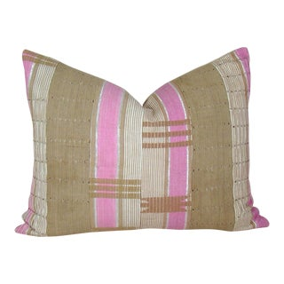 Pink & Khaki African Geometric Pillow Cover For Sale